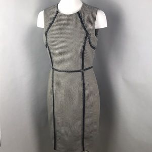Calvin Klein Leather Trim Sheath Dress 6 F3